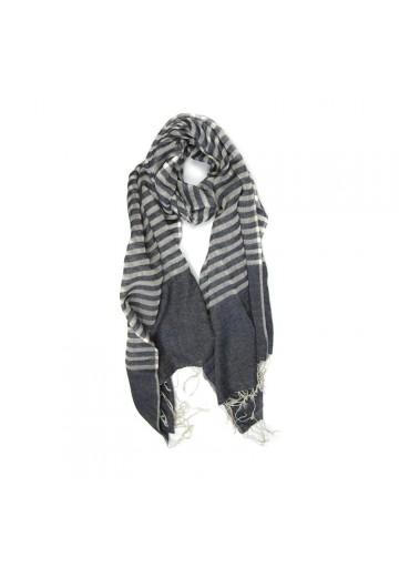 Sciarpa cotone seta a righe GUERRIERI-fashion
