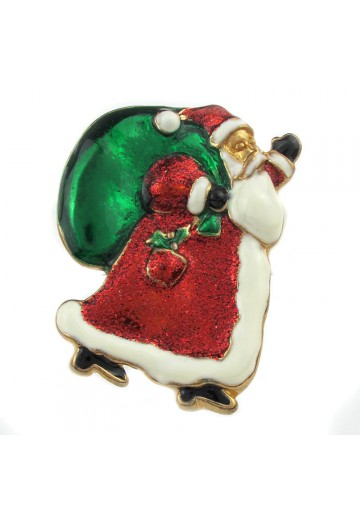 Vintage brooch santa claus with gifts usa