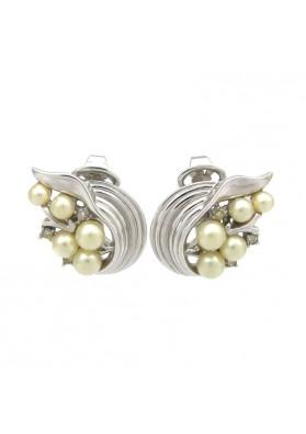 Vintage orecchini con perle e strass TRIFARI