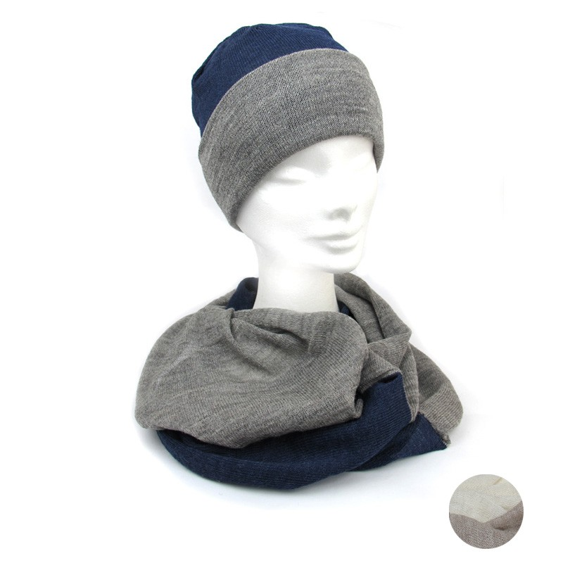 bc18c5b8f9c Beanie hat and scarf organic wool MADE IN ITALY