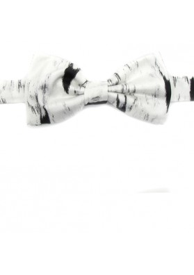 Bow tie in white smooth silk MOSCHINO