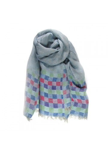 Scarf linen checks GUERRIERI
