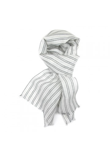 Scarf linen cotton stripes GUERRIERI