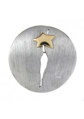 Vintage brooch pewter STAR IN CIRCLE ULTRA CRAFT
