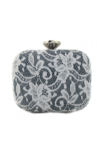 Women grey clutch with lace VILLANUEVA CAREY