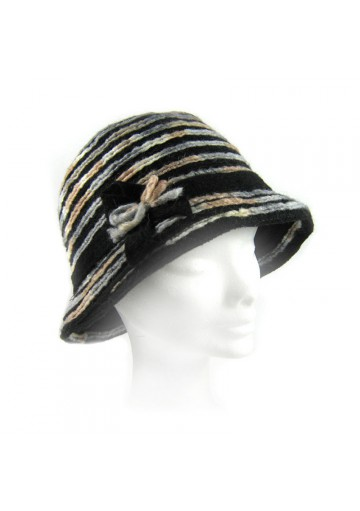 Women cloche woolen blue hat GUERRIRI