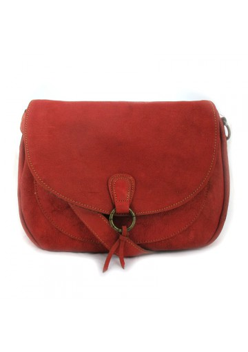 Women red leather shoulder bag SISLEY
