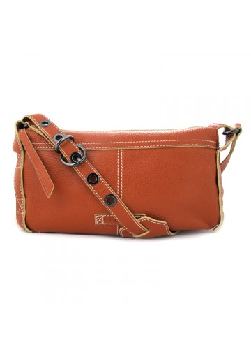 Women brown leather shoulder bag SISLEY