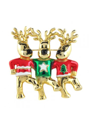 Vintage brooch THREE REINDEER AJC