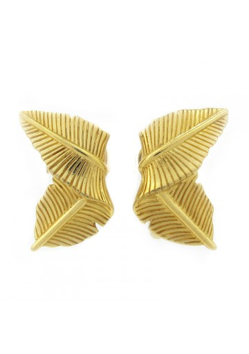 Vintage earrings FOLDED LEAVES TRIFARI