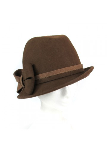Ladies trilby hat from brown wool MARINI SILVANO