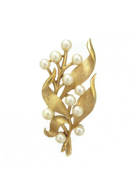 Vintage brooch BRANCH WITH PEARLS TRIFARI