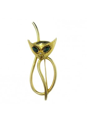 Vintage brooch CAT WITH GREEN EYES EMMONS